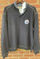$155 TOMMY BAHAMA MENS PITTSBURGH STEELERS COWL NECK BLACK PULLOVER SHIRT XL NWT
