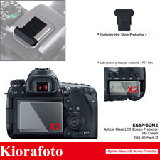 2 Pack Tempered Glass Screen Protector + Hot Shoe Cover for Canon EOS 6D Mark II