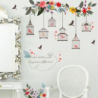 Flower vine Home Decor Wall Art Stickers Birds Birdcage Removable Vinyl Decals