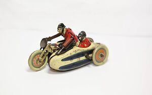Paris SFA Tinplate Clockwork Motorbike & Sidecar -Excellent Vintage Rare Pre War