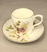 Vintage ROYAL STUART Fine Bone China Tea DEMITASSE CUP & SAUCER Floral Flower