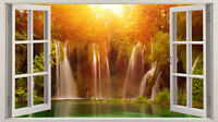 3D Window View Waterfall Landscape Wall Stickers Art Decal Mural