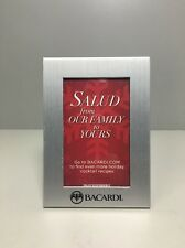 """2010 Bacardi 3.5"""" x 2.5"""" Picture Frame Silver Winter Salud From Our Family"""