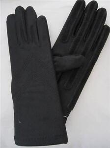 Ladies Black Isotoner Stretch Classic Gloves Fleece Lined w Suede Palm Strips