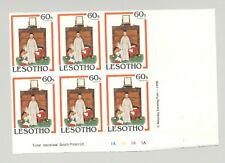 Lesotho #349 Christmas, Norman Rockwell, Art 1v Imperf Proof Block of 6