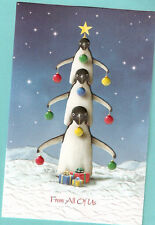 Penguin Tree Snow Embossed Christmas Cards Box of 16 From All Of Us