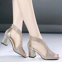 Fashion Womens Mesh Bling Rhinestone Sandals Med Block Heels Zip Peep Toe Shoes