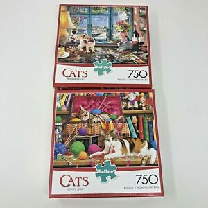 LOT OF 2 BUFFALO 750 PIECE PUZZLE PUZZLES CATS