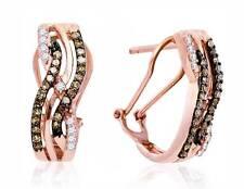 Chocolate Brown & White Diamond Omega Back Earrings 10K Rose Gold Hoops .50ct