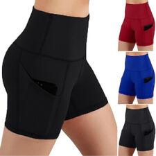 Womens High Waist Gym Yoga Shorts Tummy Control Workout Sport Pants With Pockets