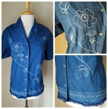 Alfred Dunner Plus Size Denim Blue Jean Floral Embroidered Button Up Blouse 2X
