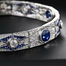 Solid 925 Sterling Silver Blue Baguette Round Art Deco Style Bracelet Jewelry Cz