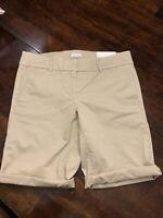 Women's Loft Bermuda Roll Shorts Size 8 Khaki NWT NEW Ann Taylor Beige $44.99
