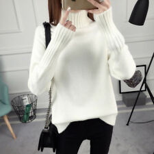 Women Jumper Sweater Turtle Neck Loose Pullover Knit Winter Fall Warm Black