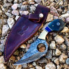 "TheBoneEdge 7.5"" Damascus Blade Hunting Knife Black & Blue Handle Leather Sheath"