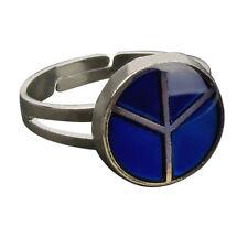 Vintage Peace Symbol Color Change Mood Ring Band Adjustable