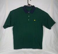 Masters Men's Green Striped Polo Golf Shirt