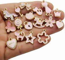 10 Enamel Gold Charms Pink Pendants Findings Princess Set Assorted Lot Mix