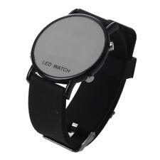 Reloj pulsera silicona LED Reloj Reloj deporte Hombres Correa negra W6K2