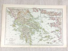 1898 Antique Map of Greece Crete Candia Cyclades Sporades Greek Old 19th Century
