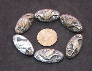 Antique Oval Metal Stork Buttons