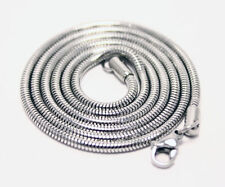 "Mens / Uni 925 Silver Snake Chain Necklace 2mm round width 24"" inch great gift"