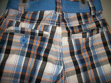 NEW URBAN EXTREME TODDLER BOYS sz 3 ORANGE BLUE & WHITE PLAID SUMMER SHORTS
