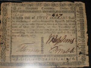 US VA Currency - $50 / 15£ - 3/1/1781 * VA-204a * (CC-247) RARE - THIN PAPER