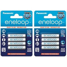 8x Panasonic Eneloop AAA Rechargeable LSD NiMH Batteries - 4th Gen
