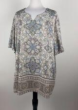 Catherines Plus Size 4X30/32 Blouse Gray Beige Jewel Embellished