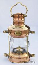 Nautical Brass & Copper Anchor Oil Lamp  Maritime Ship Lantern Boat Light