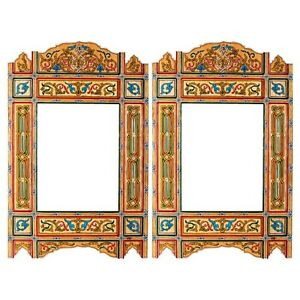Set of 2 Painted Yellow Vintage hanging mirror frame, Moroccan farmhouse decor