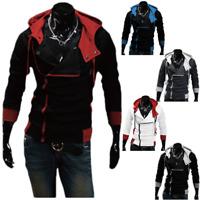 Men's Oblique Zipper Hoodie Costume Casual Top Coat Jacket For Assassin Cosplay
