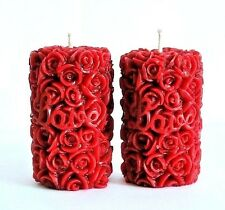 2 Beeswax Candles pillar 100% PURE roses Handmade wedding gift decor