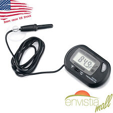 Digital LCD Fish Aquarium Thermometer with Submersible Probe & Battery US Stock