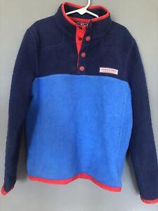 VINEYARD VINES Boys PULLOVER FLEECE Blue Navy Red Long Sleeve EUC