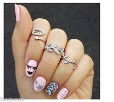 FemNmas Silver Leaf 3 Ring Set Celebrity Fashion Ring Set Midi Finger Ring Set