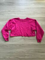 Vintage 80s Hanes Neon Pink Long Sleeve Crewneck Crop Top Sweatshirt Womens XL
