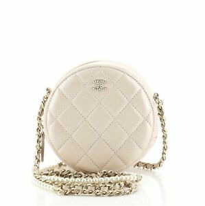 Chanel Pearl Strap Round Clutch with Chain Quilted Iridescent Lambskin