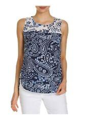 SPORTSCRAFT Blue White SALLY Paisley Pattern 100% Silk Sleeveless Shift Top 8