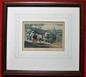 H Alken Aquatint by E Duncan Vintage Engraving Titled What never upset in a gig?