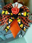 HAPPY   HALLOWEEN  CANDY CORN  BOWS  LARGE Decorative HEART ORNAMENT