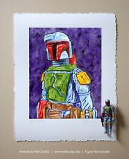 BOBA FETT Vintage Kenner Star Wars Action Figure ORIGINAL ART PRINT 3.75
