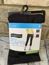 No Nonsense Women's Classic Denim Capri Legging with Pockets, Light Denim, S