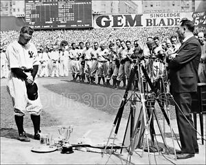 Lou Gehrig Day Photo 8X10 Yankees Luckiest Man Speech 1939
