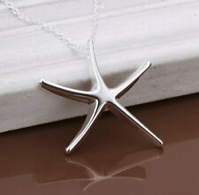 "Womens 925 Sterling Silver Starfish Pendant 18"" Link Chain Necklace NE1"