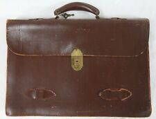 Vintage Well Used Leather Accordion Attache Briefcase Original Presto Lock & Key