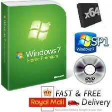 Windows 7 Home Premium 64-bit SP1 Full Version & License COA Product Key on DVD