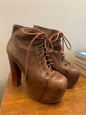 Jeffrey Campbell Lita Boots 6 Brown Leather Platform Heels