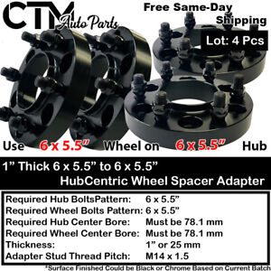 "4PC 1"" THICK 6X5.5"" 78MM HUBCENTRIC WHEEL ADAPTER SPACER FIT 6LUG CHEVY CADILLAC"